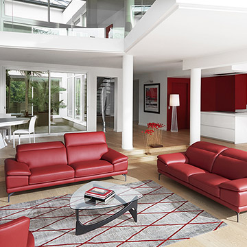 salon contemporain tendance rouge
